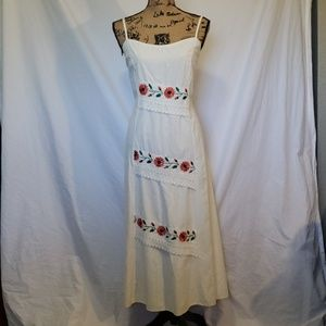 Unique Cream Embroidered and Lace Flower Sundress